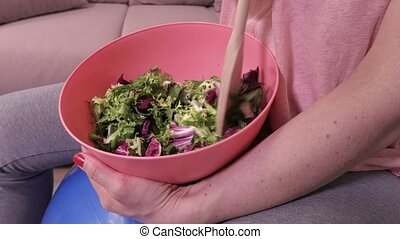 Woman with healthy,vegetarian food