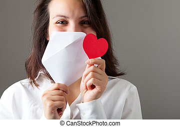 Woman with Heart and Envelop