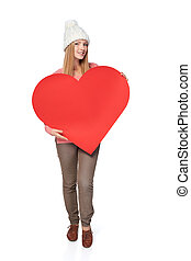 Woman with heart banner