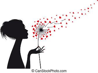 woman with heart dandelion, vector - woman holding dandelion...