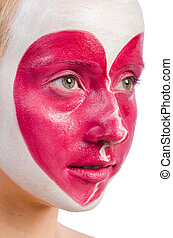 Woman with heart face painting isolated on white