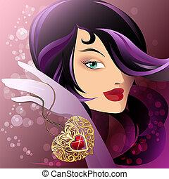 Woman with heart shape pendant