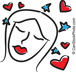 woman with hearts.eps - is an illustration in eps file