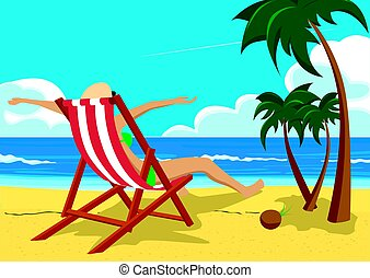 Woman with her arms wide open sitting in deck chair on the tropical beach with palm trees looking into the distance