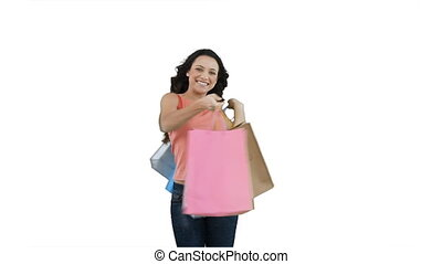 Woman with her bags of shopping in her hands