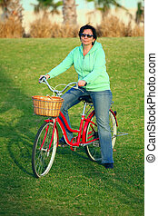 Woman with her bike