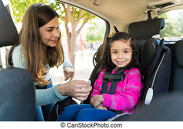 Woman With Her Daughter Going For Picnic In Vehicle