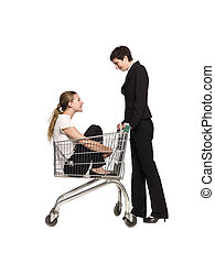 Woman with her friend in a shopping cart