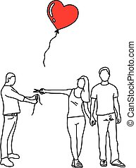 woman with her new lover cutting red heart balloon of a man vector illustration outline sketch hand drawn with black lines isolated on white background. Broken heart concept.