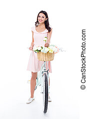 Woman with hipster bicycle