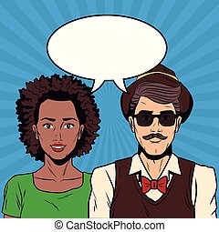 Woman with hipster, couple pop art cartoon