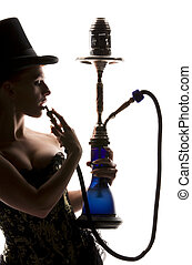 woman with hookah - silhouette backlight picture of sexy...
