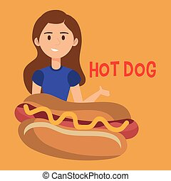 woman with hot dog character