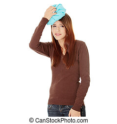 Woman with ice bag