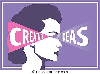 Woman with ideas uses them to creativity, career concept...