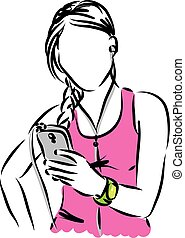 woman with intelligent phone illustration