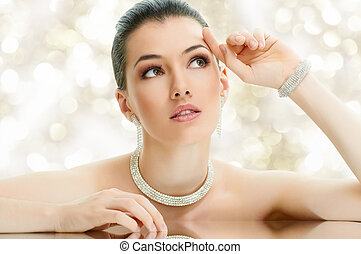 woman with jewelry - portrait of beautiful woman with...