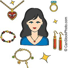 Woman with jewels and gold accessories - Pretty brunette...