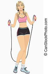 Woman with jumping-rope - Illustrat