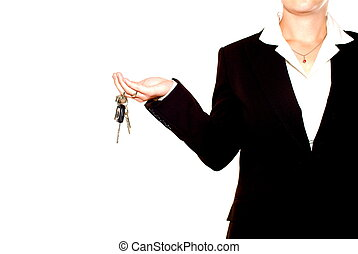 Woman with keys - A besuited woman holding a set of keys