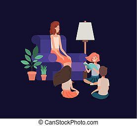 woman with kids in the livingroom reading books