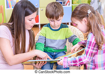 Woman With Kids Reading
