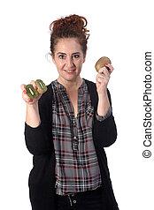 woman with kiwi on white background