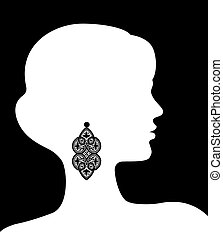 Woman with lacy earring
