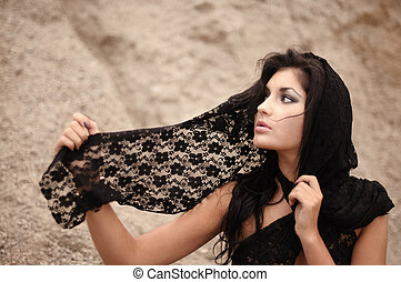 Woman With Lacy Headscarf