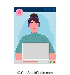 Woman with laptop and headphone in video chat screenshot design, Call online conference and webcam theme Vector illustration