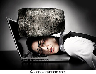 Woman with laptop having stress. - Woman programmer with...