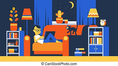 Woman with laptop on sofa working remotely at night