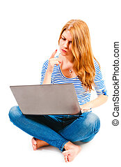 woman with laptop sitting on a white background