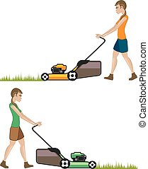 Woman with lawnmower
