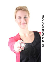 woman with led flashlight