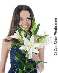 woman with lily