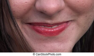 Woman With Lipstick Close Up