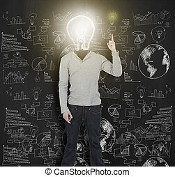 Woman with lit up light bulb for he