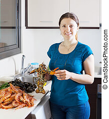 Woman with lobster