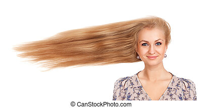 Woman with long blowing hair