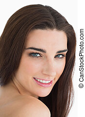 Woman with long brown hair - Glamorous woman with long brown...