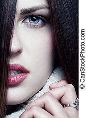 Woman with long brown hairs - Pretty woman with long ...