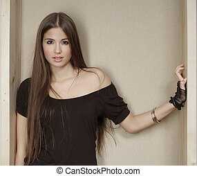 woman with long hair - a beautiful woman with long brown...