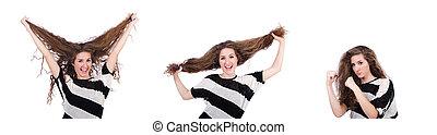 Woman with long hair haircut