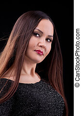 woman with long hair in dark cloth