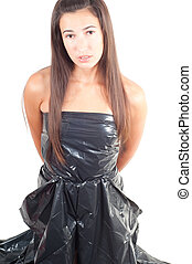 Woman with long hair in recycling dress