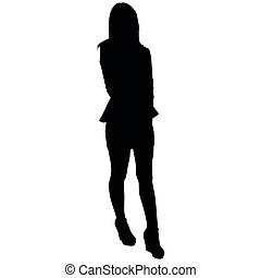 woman with long legs in a short skirt on white background