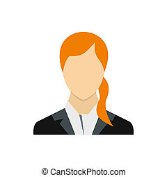 Woman with long red hair icon, flat style