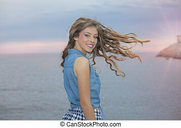 woman with long wavy healthy hair