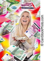 Woman with lots of banknotes